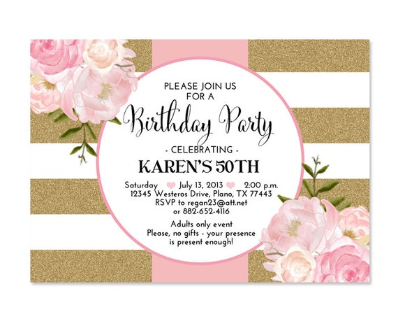 30th Birthday Invitation Pink Gold Glitter Stripes Pink Peonies Floral Birthday Invitation 21st ...