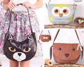 Simplicity 1181, sewing pattern for animal purses -- cat, dog, owl and fox, one size, uncut