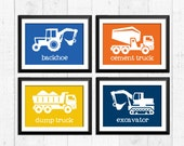 Trucks, transportation, construction art, construction decor, construction baby nursery decor, kids wall art, nursery print, trucks art
