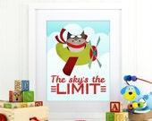 sky's the limit airplane decor, airplane nursery art, boy nursery art print, aviator art print boys, owls nursery art print, kids, D-1101