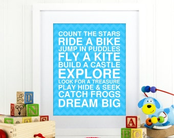 Playroom wall art, typography playroom art prints for kids, inspirational quotes for playroom, playroom rules, nursery wall art,  A-1069