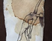 Nude Female Illustration , Mother Earth Drawing , Watercolor painting with coffee