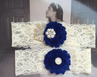 Wedding Garter Set Royal blue/Flowers/Pearls rhinestone Centering - Garter Set