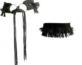 vtg FRINGE LEATHER BELT // black suede leather