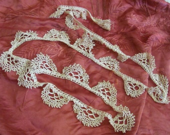 "Antique Crocheted Lace Sewing Trim Piece 64"" Long"
