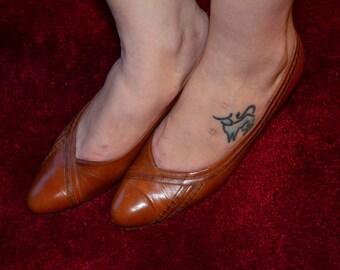 Medium Brown Women's Shoes, Size 9, Vintage Leather Heels, Ladies' Dress Shoes, Brown Shoes, Brown Pumps