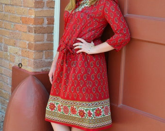 Red Dress, Women's Paisley Dress, Vintage Lorac Original, Polyester Dress, Ladies' Red Dress, 3/4 Sleeved Dress, Christmas Gift, For Her