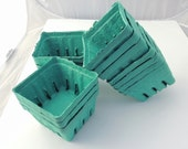 6 Aqua Green Pint Baskets, Pulp Berry Baskets, Recyclable Party Favor Boxes Wedding Gift Baskets Cookies Treats Baked Goods Party Favors,