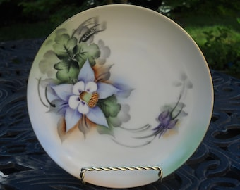 Vintage Plate, Signed, Handpainted, Columbine Flower, 1920s, C Roper, Czechoslovakia, Three Available