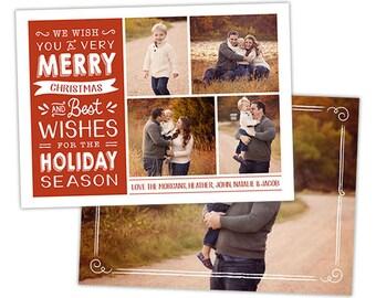 Christmas Card Template for Photographers, Christmas Card Templates for Photoshop, Holiday Card Templates, Photography Templates - HC252