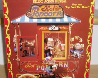 Vintage Music Box - Enesco Animated Musical, Popcorn Carnival 592250, 1993, Enesco Collectible, Enesco Retired Music Box, Original Box