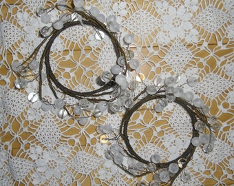 "Vintage Beaded Candle Rings - Clear and Frosted Lucite Beads,  3 1/2"" Diameter Wire Ring, Wedding Decor, Holiday Decor"