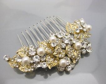 Gold hair comb,Gold hair accessories.Bridal hair comb,pearl hair accessories,Wedding hair comb,Bridal hair clip,Wedding headpiece,Bridal
