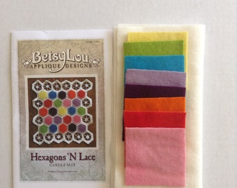 """KIT - """"Hexagons 'N Lace"""" wool applique' candle mat kit with pattern."""