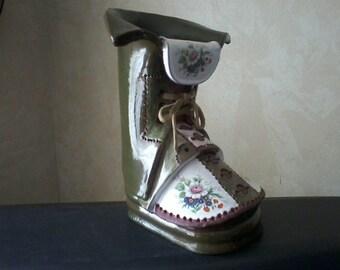 Shabby Chic Pottery Boot Vase/Planter