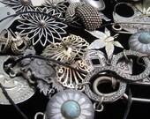 Vintage Jewelry Lot Destash Buckles Pen Pins Brooches Pendants Repair Wear Findings Filigree Upcycle Resell