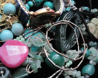 Vintage Jewelry Lot Destash Turquoise Stone Waltham Necklaces Pendants Beads Wear Upcycle Resell