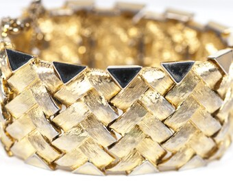 Marcel Boucher Bracelet  Vintage Woven Metal  Signed 1960s Gold Tone