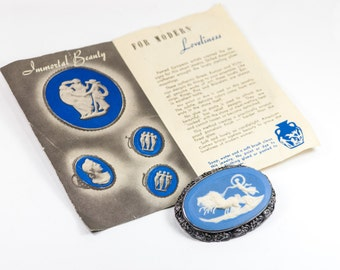 Sterling Cameo Brooch  Schrager  'Art of the Immortals'   Original Leaflet   Vintage Blue Jasperware  Diana