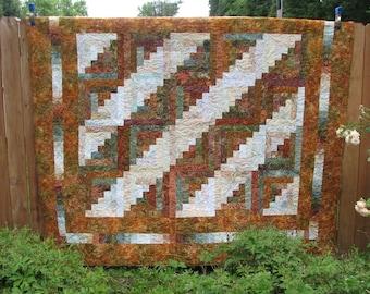 Quilt - Queen Batik Log Cabin Quilt - Autumn Splendor