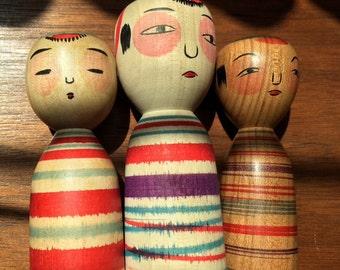 Unique and rare 1960's striped miniature kokeshi set