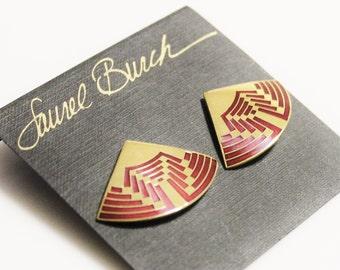 Red and Gold Earrings By Laurel Burch, Fan Earrings, Enamel Jewelry, Gifts Under 40