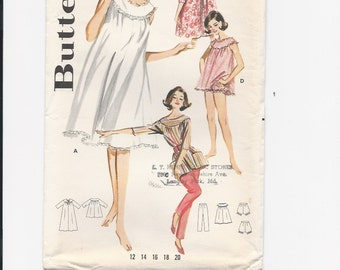 UNCUT Vintage Sewing Pattern Butterick 2198 for Misses Lingerie Coorinates, Sz12, 1960s