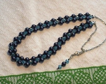 Blue Pearl Cross Weave Beaded Crystal Necklace