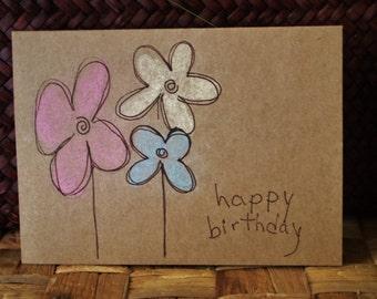 Pastel Flower Birthday Card