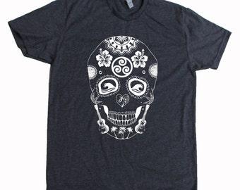 Sugar Skull Hawaii Style Men's Screen Printed T Shirt Dias De Los Mahalos Grey