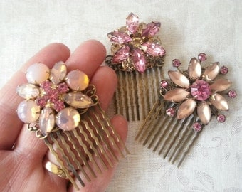 SPARKLERS VINTAGE PINK Hair Combs Set of Three Shabby Rustic Chic Bride Bridesmaids Hair Accessories Country Rustic Chic Wedding