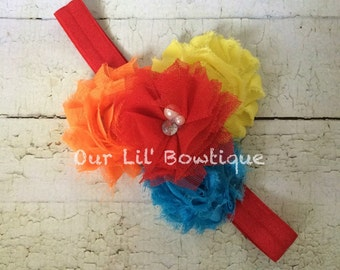 Circus Headband - Primary Color Headband - Infant Headbands - Orange Yellow Red and Blue Shabby Rosette Headband - Photo Prop - Circus