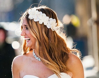 Romantic white delphinium blossom flower headpiece crown, nature woodland bridal wedding bridesmaid boho bridal
