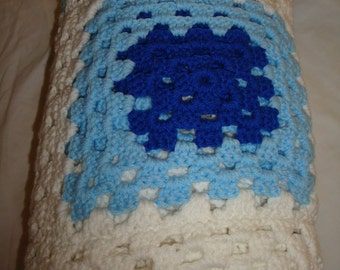 White Blue and Navy Blue Afghan Bedding Throw 65 inch x 46 inch