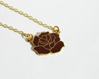 Enamel Rose 18K Gold Filled Necklace