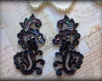 Vintage Lily Spray Lace Applique, Black, x 2, For Bridal, Romantic, Victorian, Gothic Projects