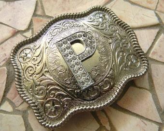 Letter P Personalized Silver Monogram Belt Buckle, Rhinestone Initial P Monogrammed Womens Kids Western Belt Buckle, Bridesmaid Gift