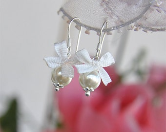 Children Tiny Pearl Earrings With White Silk Bow Sterling Silver Kids Pearl Jewelry First Communion Baptism Gift For Little Girls