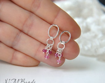 Ruby Earrings, Geometric Stud Dangle Earrings, Sterling Silver, Simple Jewelry, Minimalist Earrings, Birthday Gift, July Birthstone