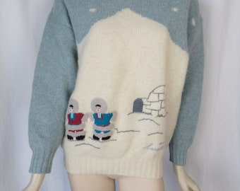 1991 series Benetton Eskimo Igloo Shetland wool novelty sweater/ pull over rolled neck/ made in Italy: unisex mens XS/womans Small