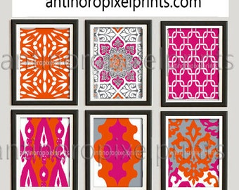 Wall Art Prints Orange Pink Grey Vintage / Modern inspired  Art Prints Collection  -Set of 6 - 11x14 Prints -   (UNFRAMED)