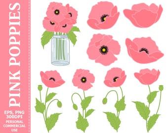 50% OFF SALE Digital Pink Poppies Clip Art - Pink, Green, Flowers, Mason Jar, Bouquet Clip Art