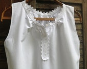 Romantic Antique French White Batiste Cotton Nightgown ~ Nightdress ~ Monogrammed ~ Lace