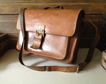 Brown Leather Satchel Bag Crossbody Briefcase By Ruitertassen Belgium, Long Strap, Brass Buckle Front, Top Handle