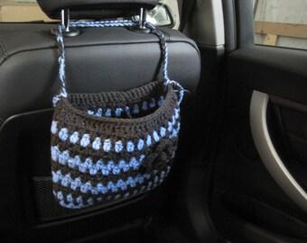 Crochet Car Headrest Caddy with a Flower, Car Accessories - light periwinkle/ dark grey (CCHC1D-F1)