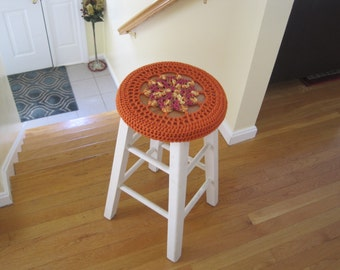 Crochet Bar Stool Cover/Cozy - marrakesh/carrot (CBSC2G)