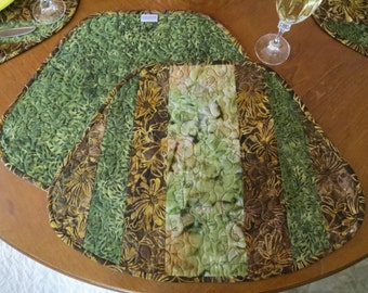Quilted Olive Brown Batik Placemats 461