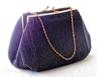 Ladies Clutch Purse, Black Vintage Evening Bag,   Saks Fifth Avenue Black Beaded Clutch. Glass Seed Beads, Ladies Handbags