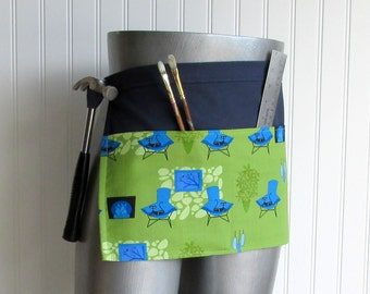 Canvas Utility Apron  - Mod Cats on Chairs
