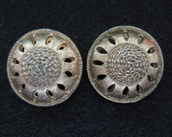 Vintage Clip Earrings, Shield Style, Brass Toned, Round